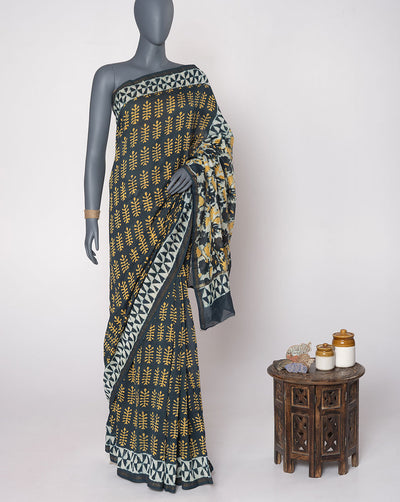 Navy-Blue Yellow Booti Pattern Hand Block Zari Border Chanderi Saree With Blouse - Fabriclore.com