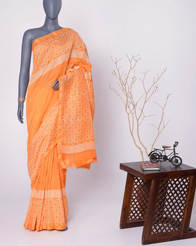 Orange Off-White Geometric Pattern Hand Block Zari Border Chanderi Saree With Blouse - Fabriclore.com