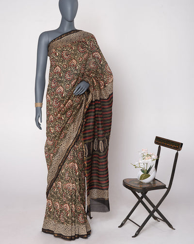 Olive Green Off-White Floral Pattern Hand Block Zari Border Chanderi Saree With Blouse - Fabriclore.com