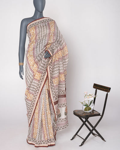 White Grey Chevron Pattern Hand Block Zari Border Chanderi Saree With Blouse - Fabriclore.com