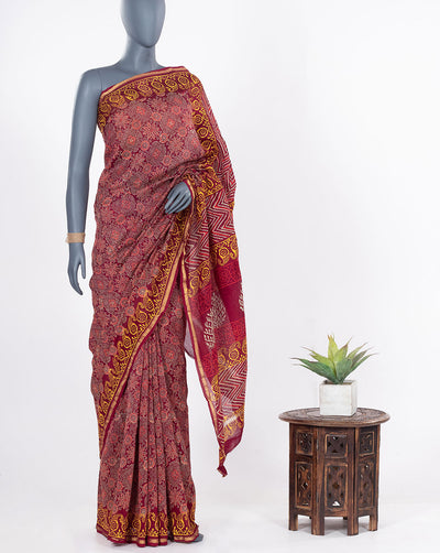 Floral Pattern Hand Block Zari Border Chanderi Saree With Blouse - Fabriclore.com