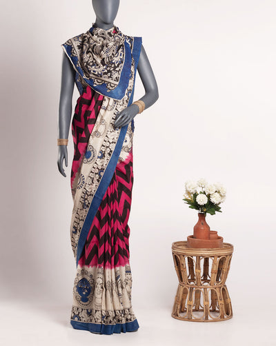 Pink Off-White Chevron Pattern Kalamkari Printed Cotton Silk Saree With Blouse - Fabriclore.com