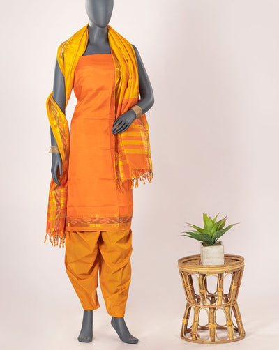 Handloom Mangalgiri Zari Work Art Silk Unstitched Suit Set - Fabriclore.com