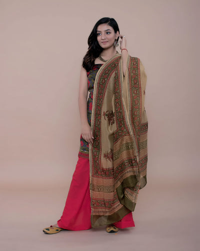 Multi-Color Chanderi Silk Hand Block Unstitched Suit - Fabriclore.com