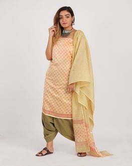 Beige & Fuchsia Floral Hand Block Chanderi Silk Unstitched Suit With Border - Fabriclore.com