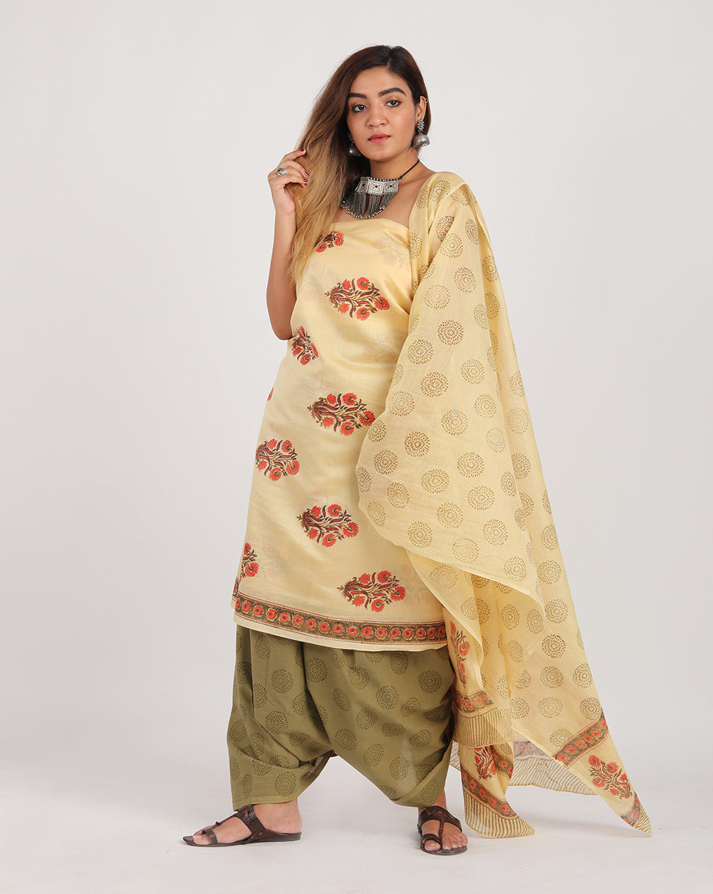 Beige & Red Floral Hand Block Chanderi Silk Unstitched Suit With Border - Fabriclore.com