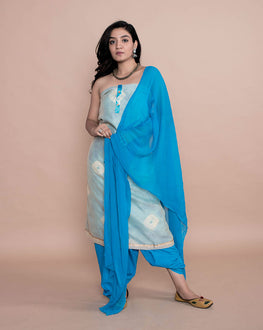 Layered Tie & Dye Chanderi Suit with Printed Chiffon Dupatta