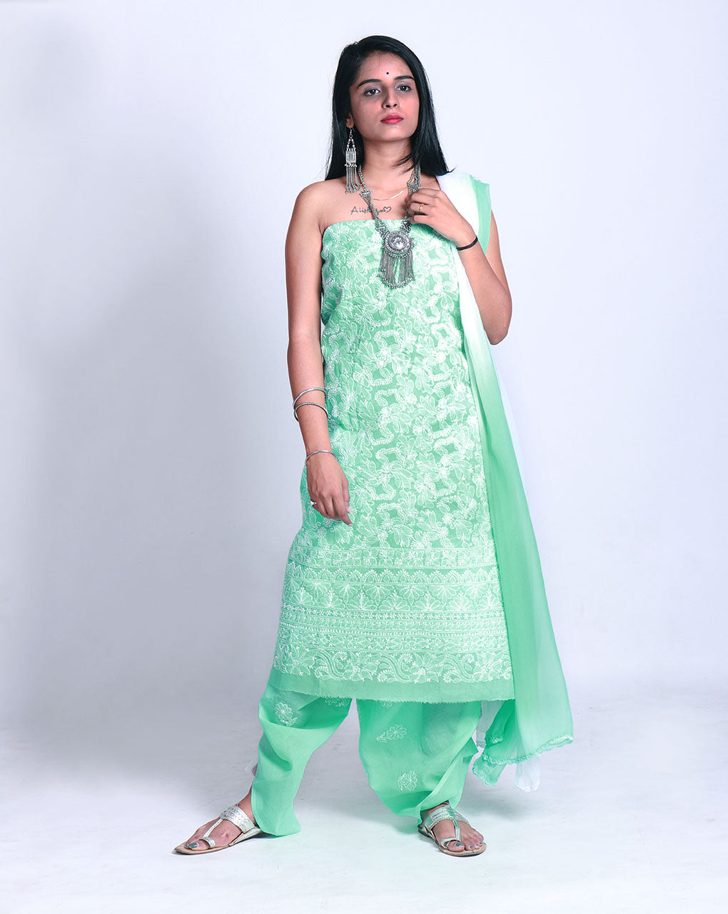Green White Lucknowi Chikan Hand Embroidery Cotton Unstitched Suit With Chiffon Dupatta Fabriclore