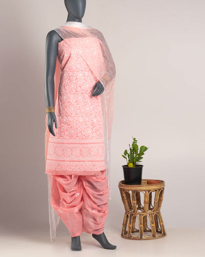 Fuchsia Lucknowi Chikan Hand Embroidery Cotton Unstitched Suit Set - Fabriclore.com