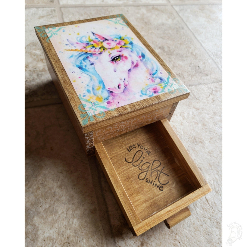 Vintage Princess Unicorn Jewelry Box with Mirror & Drawer