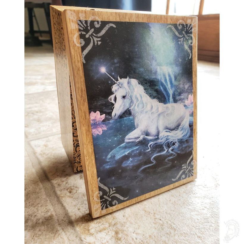 Vintage Mystic Unicorn Jewelry Box with Mirror & Drawer