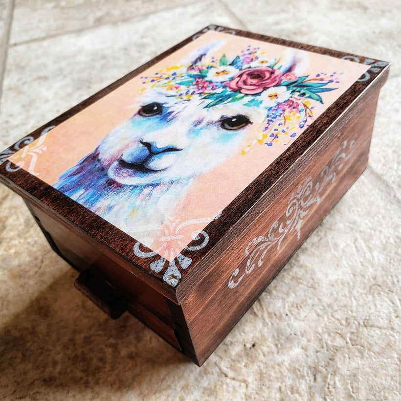 Vintage Llama Jewelry Box with Mirror & Drawer