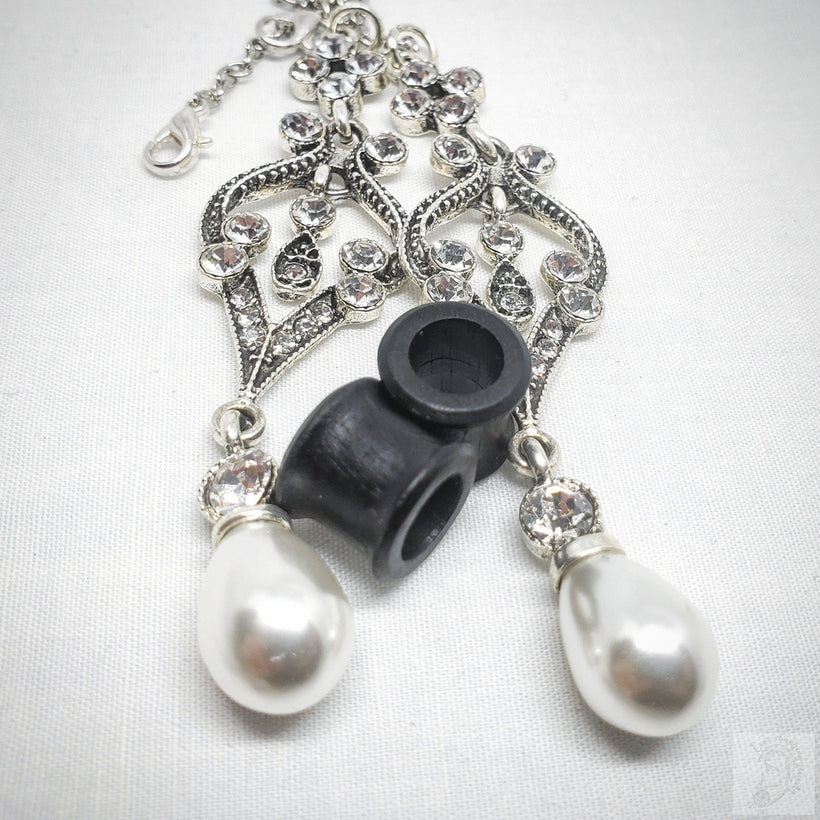 Ebony Magnetic Tunnels ft. Detachable Victorian Pearl & Crystal Dangles