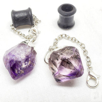 Organic Magnetic Ebony Tunnels with Detachable Purple Amethyst Stone Dangles with Clasp