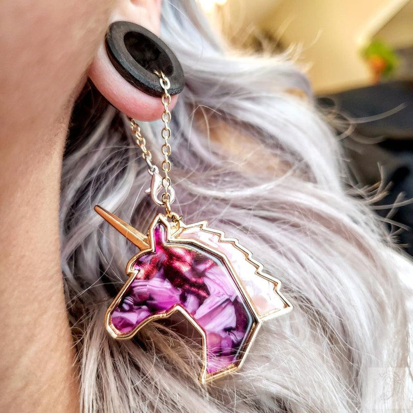 Magnetic Tunnels Ft. Detachable Weighted Purple Amethyst Stone Unicorns for Stretched ears- Sizes 0g(8mm) - 38mm/ Available in Ebony Wood or Bloodwood
