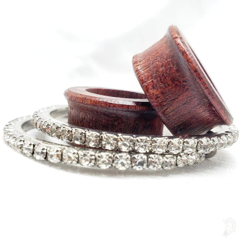 Magnetic Tunnels Ft. Detachable Crystal Rhinestone Hoops for Stretched ears- Sizes 0g(8mm) - 38mm/ Available in Ebony Wood or Bloodwood