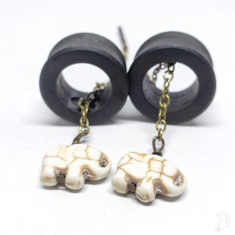 Ebony Magnetic Tunnels Ft. Detachable White Stone Elephant Dangles