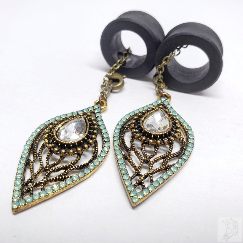 Ebony Magnetic Tunnels with Detachable Elegant Shimmering Lotus Dangles
