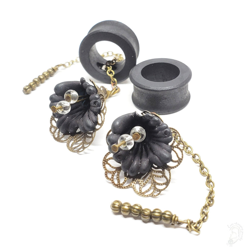 Ebony Magnetic Wooden Tunnels Ft. Detachable Spring Lily Dangles