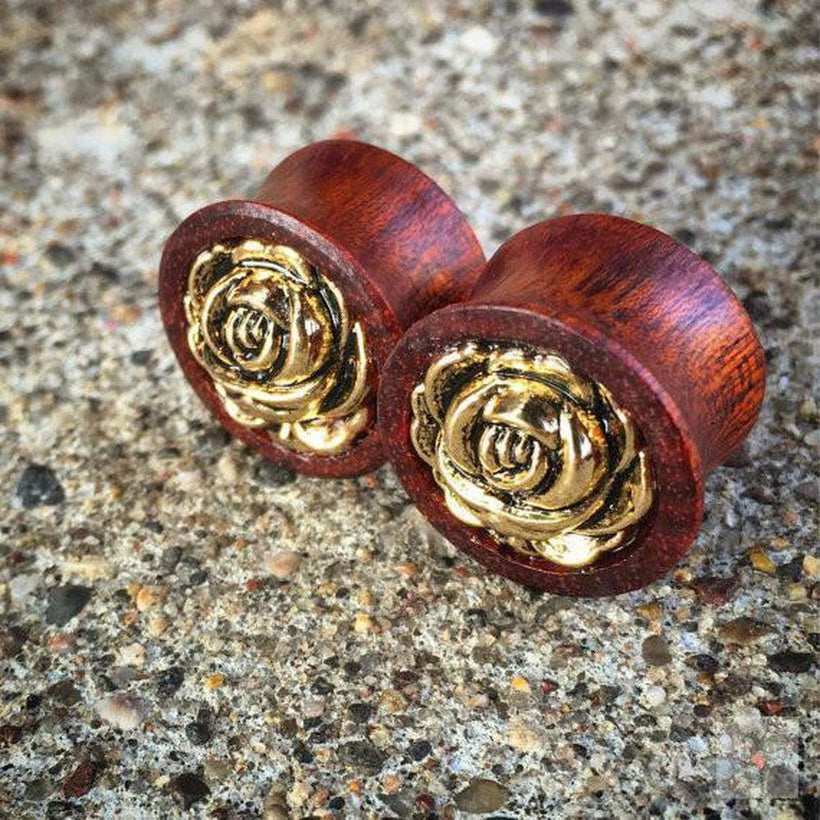 Golden Rosebud Bloodwood Plugs