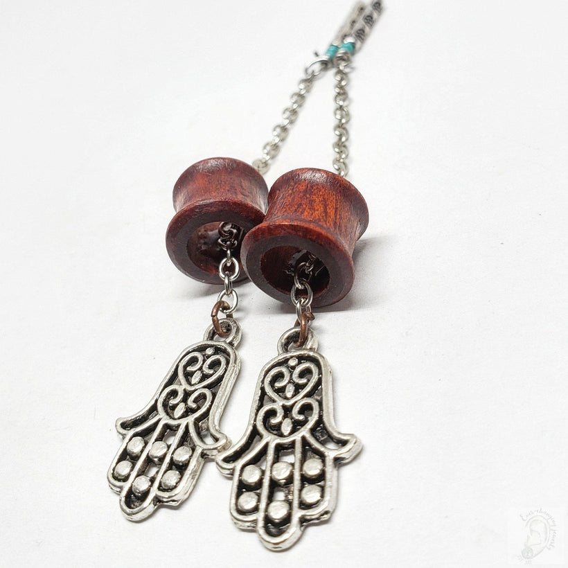 Magnetic Bloodwood Tunnels ft. Detachable Hamsa Hand Dangles