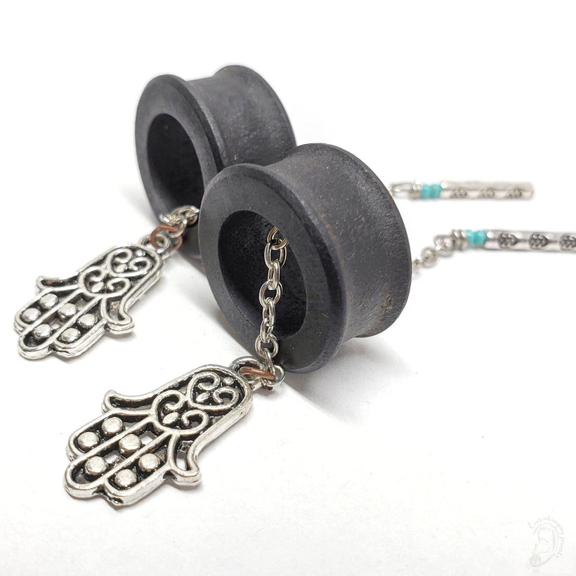 Magnetic Ebony Wood Tunnels ft. Detachable Hamsa Hands