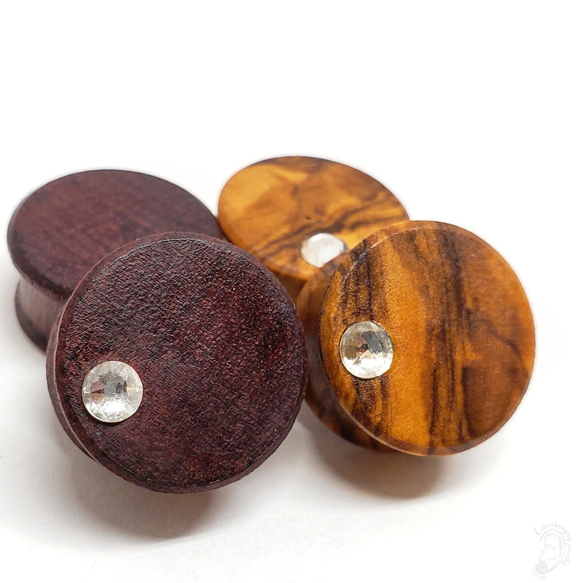 Organic Olive Wood Plugs with Offset Swarovski Crystal Inlays