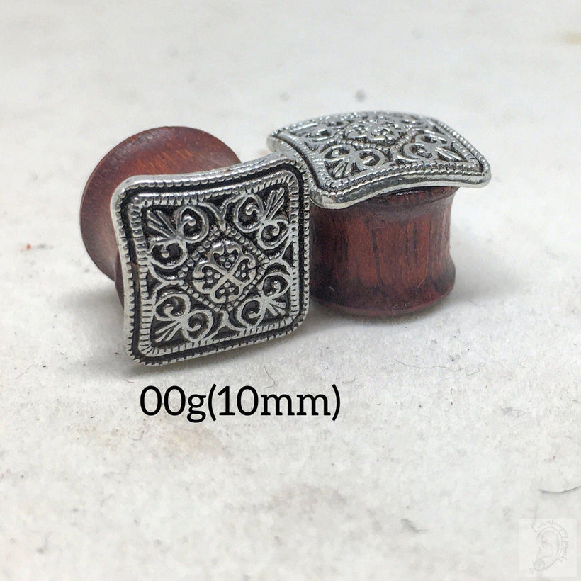 Square Mandala Bloodwood Wood Gauges