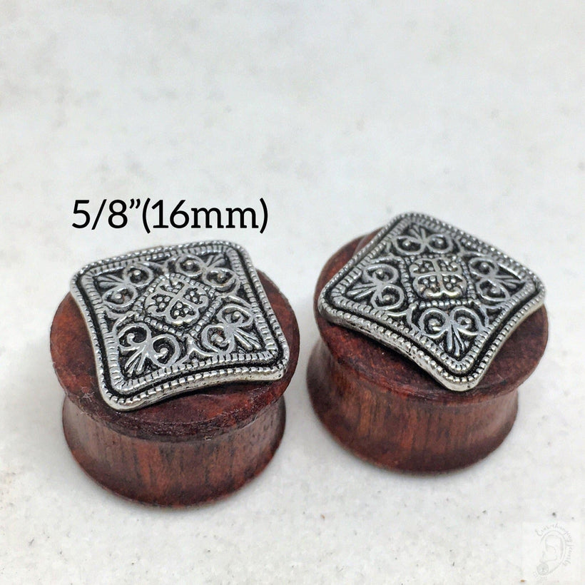 "Square Mandala Bloodwood Wood Plug Gauges for Stretched Ears- Sizes 2g(6mm) through 5/8""(16mm)"