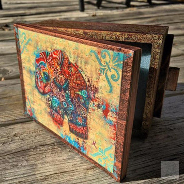Vintage Bohemian Elephant Jewelry Box with Mirror