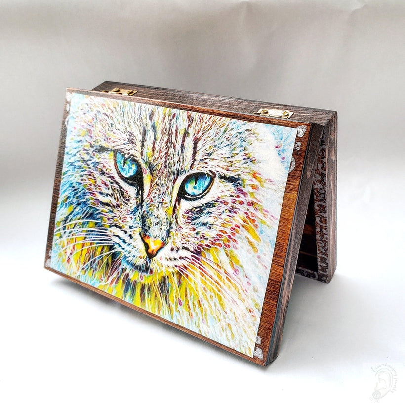 Vintage Psychedelic Cat Jewelry Box with Mirror