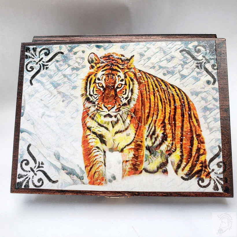 Vintage Wild Tiger Jewelry Box with Mirror