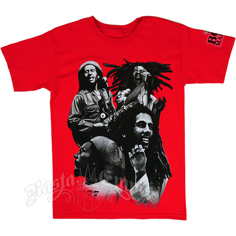 BOB MARLEY RED QUAD PHOTO RED T-SHIRT - MEN'S - JAQAR