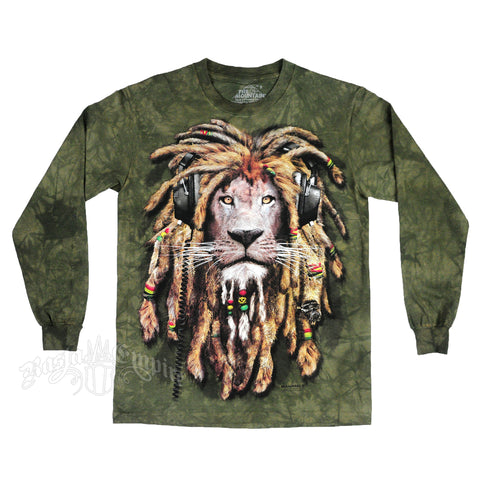 Rasta DJ Lion Olive Green Tie Dye Long Sleeve T-Shirt - JAQAR