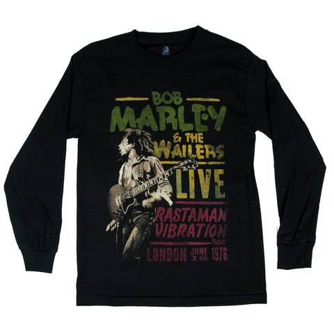 BOB MARLEY LIVE IN LONDON BLACK LONG SLEEVE T-SHIRT - JAQAR