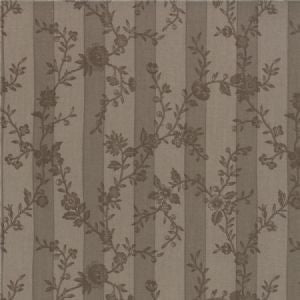 Tonal Floral Stripe in Stone - 3 yard minimum (A)