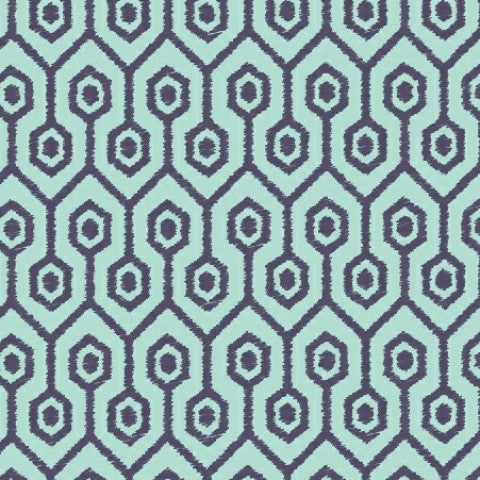 Aqua Geometric - 3 yard minimum (B)