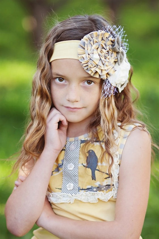 Allyson Headband (Grey/Yellow)