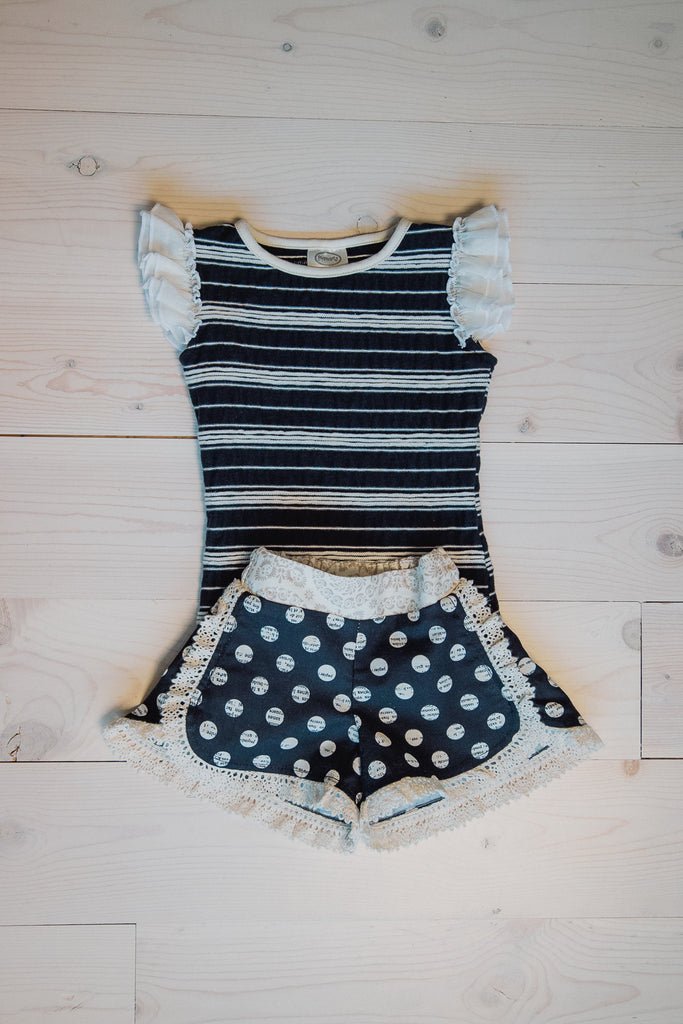 Everly Top - Black/Ivory stripe