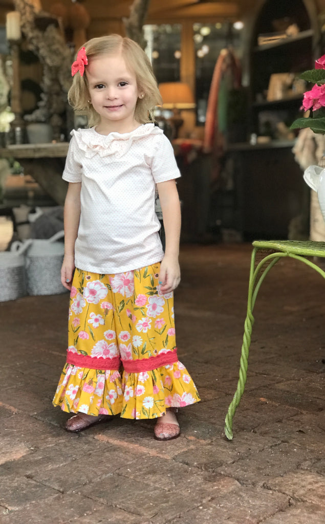 Gaucho Pant - Yellow Floral
