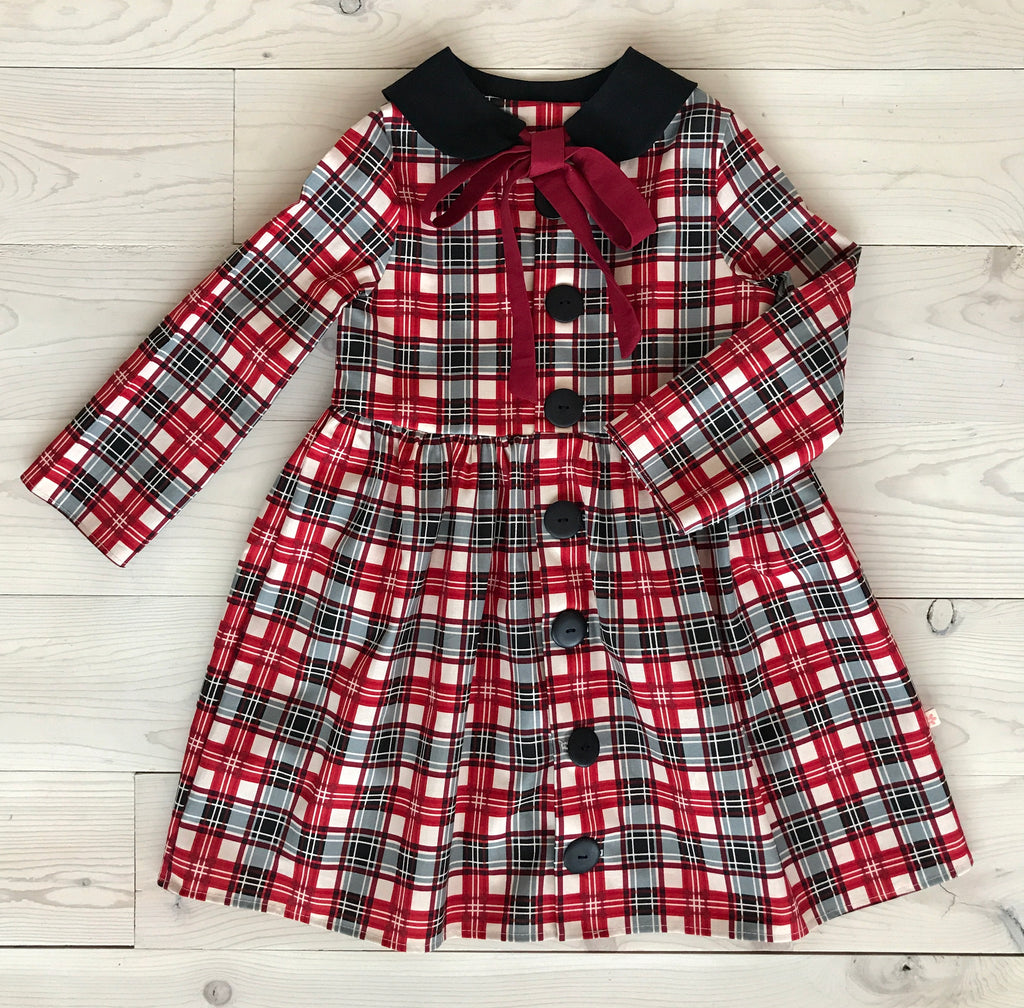 Frankie Dress - Dark Red Plaid