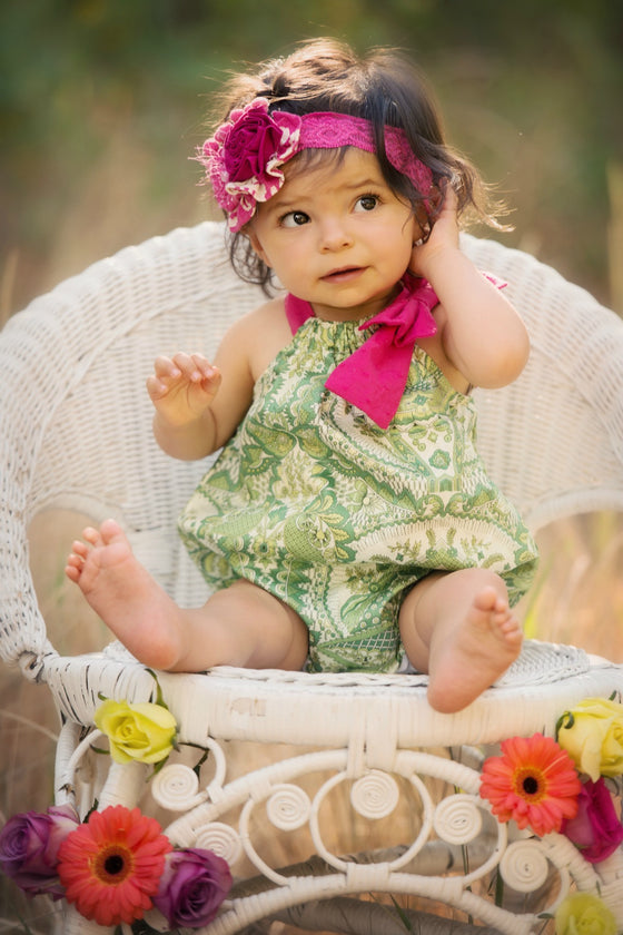 Dolly Romper (GRN) - Spring 14 Sample - 3-6M