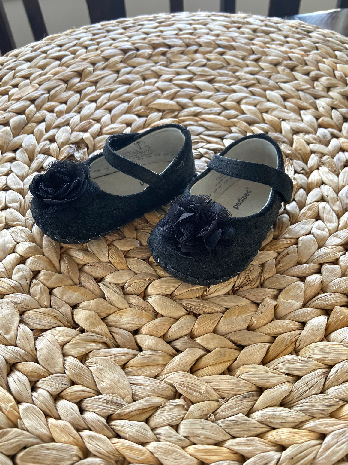 Pediped black Mary Jane  leather mocs shoes sz. 6-12 mos