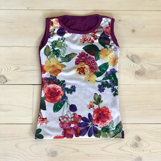 Josie Tank Top Purple Floral - Spring 16 Sample