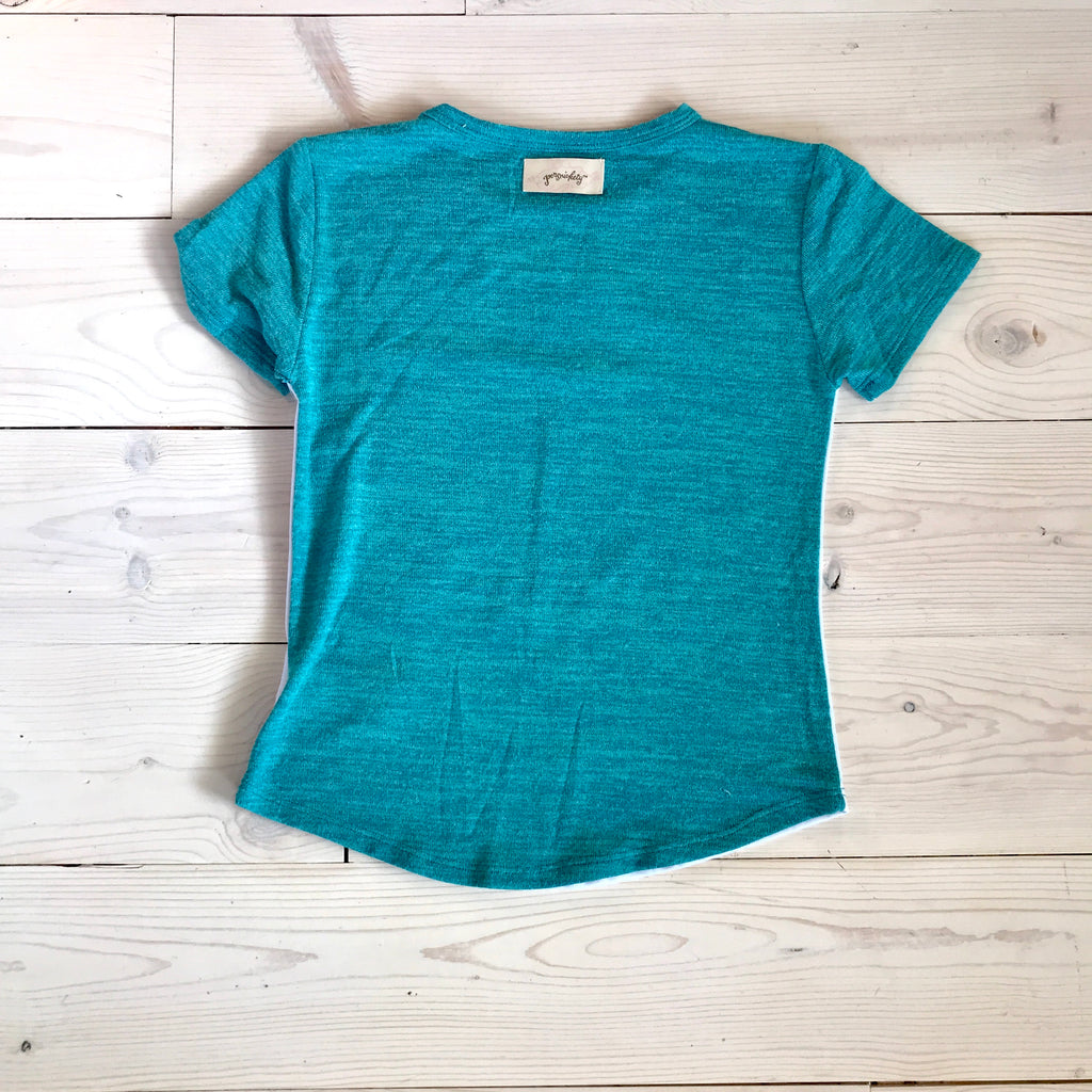 RYANN OVERSIZED TEE -Turquoise Sunset Art- Sample Size 3