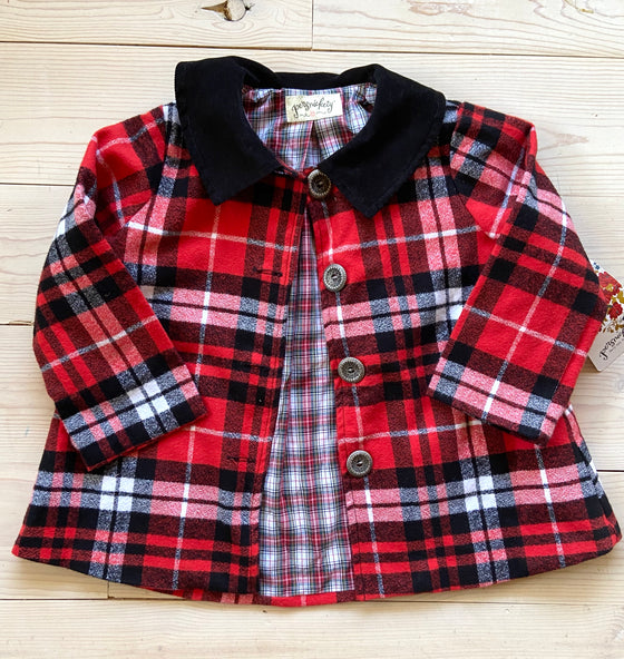 Delphine Coat Red plaid- Sample 3