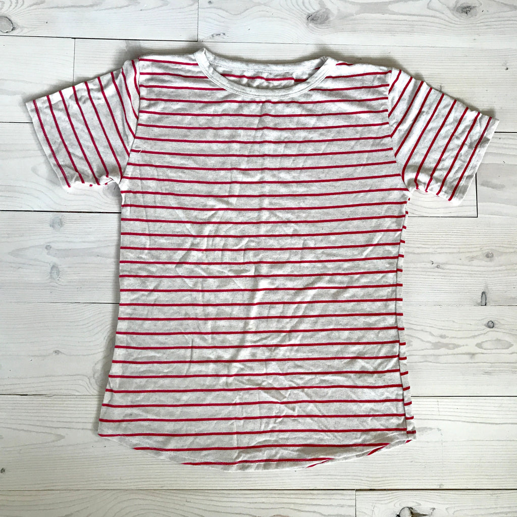 RYANN OVERSIZED TEE Red Stripe- Sample Size 12
