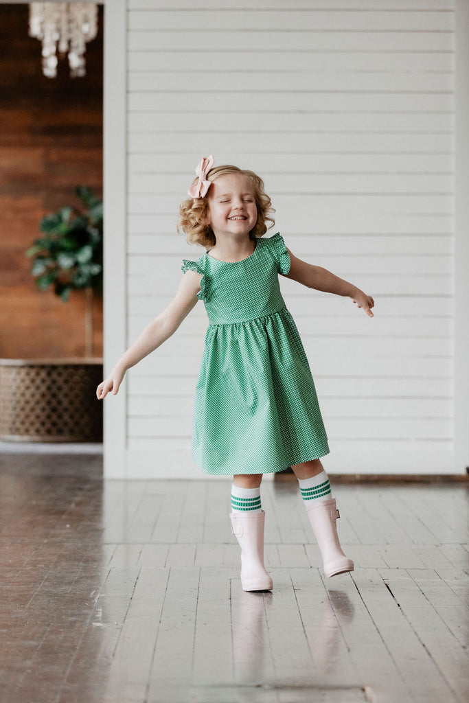 Maddie Dress -Green Dot