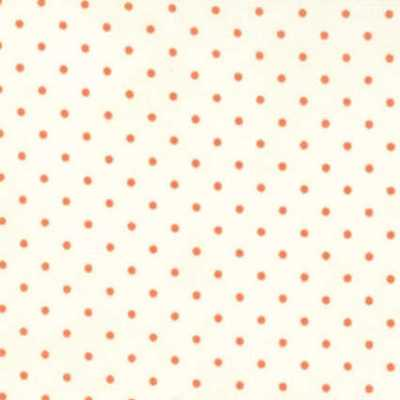 Moda Fabric Essential Dots - White - Coral  8654-75