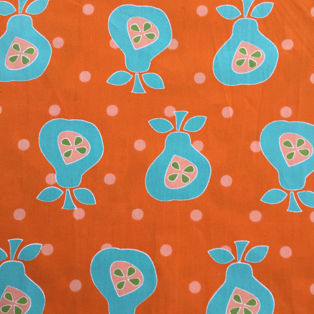 Orange with Pears - Poplin Fabric